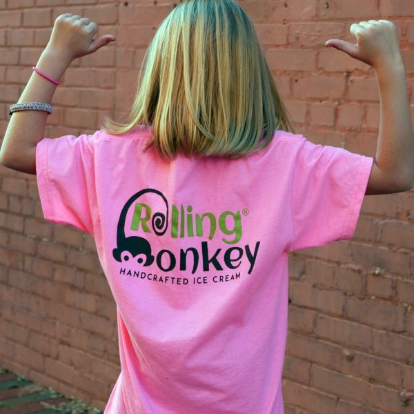 Rolling Monkey | Hand Rolled Ice Cream | Pink T-Shirt